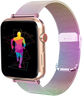 INTENY Compatible for Apple Watch Band 38mm 40mm 42mm 44mm, Replacement with Adjustable Stainless Steel Mesh Wristband Women Men Sport Loop for iWatch Series 5/4 / 3/2 / 1