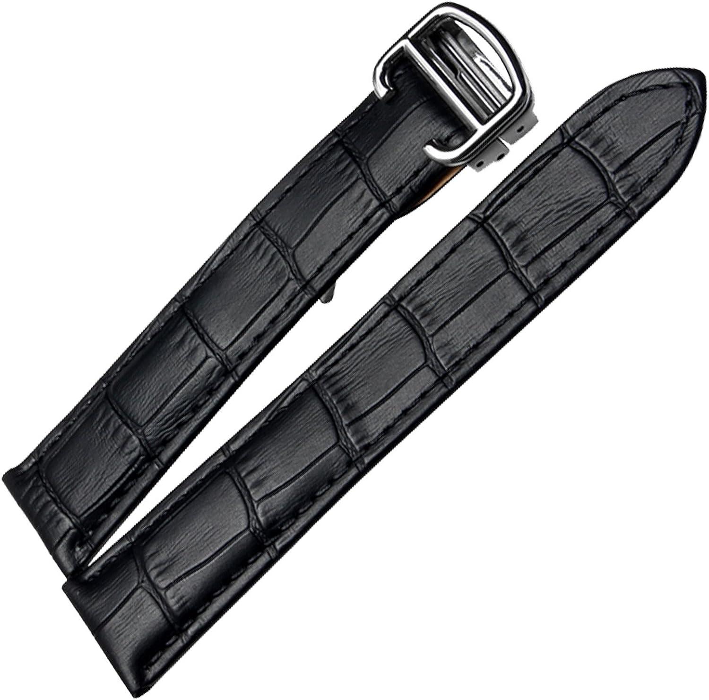 Correa de reloj de piel negra compatible con reloj de tanque de repuesto de 16 mm, 18 mm, 20 mm
