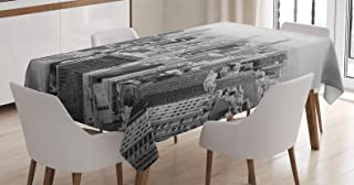 Ambesonne Apartment Decor Tablecloth by, Chicago Skyline Aerial View Contemporary Famous Touristic Places Picture, Dining Room Kitchen Rectangular Table Cover, 60 X 84 Inches