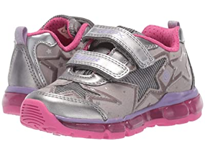 Geox Kids Jr Android 24 (Toddler) (Silver/Fuchsia) Girls Shoes