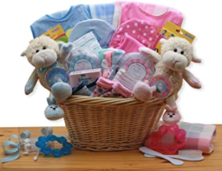 Double Delight Twins New Baby Gift Basket - Pink/Blue