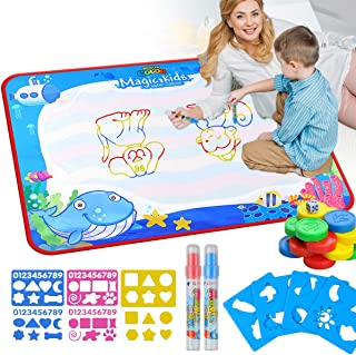 Lot-Yes Magic Doodle Mat Educational Water Drawing Mat Toy Painting Board for Kids Gifts Developmental Toys Coloring Water Magic Mats Scribble Board Pad Painting Markers for Boys Girls (Ocean)