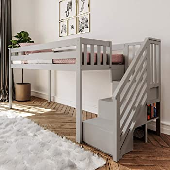 Max & Lily Twin Low Loft with Staircase, Low Loft + Staircase, Grey