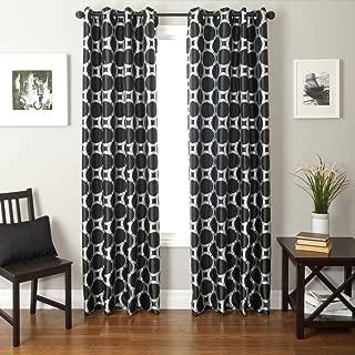 Softline Home Fashions Catara Circle Series Woven Jacquard Window Curtain/Drape/Panel/Treatment with Grommet Top, Silver/Black, 55
