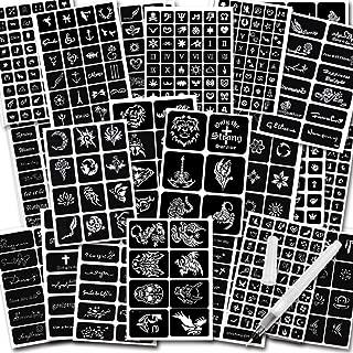 Koogel 434 PCS Semi Permanent Tattoo with Body Painting Pen,20 Sheets Henna Girls Boys Tattoo Stencil Temporary Tattoos for Women Body Art Template
