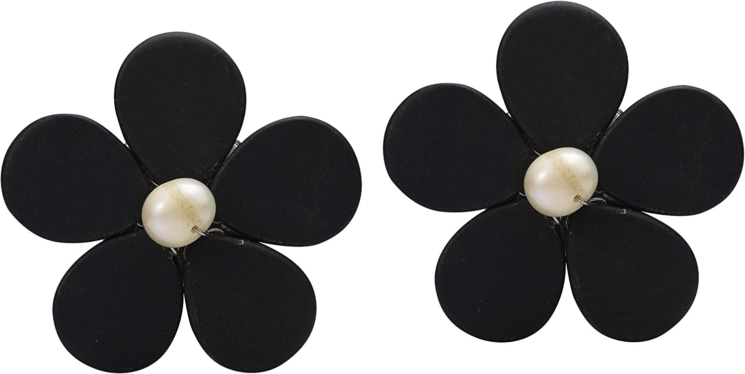 Adorable Daisy Simulated Black Onyx & Cultured Freshwater Pearl Flower Clip On Earrings