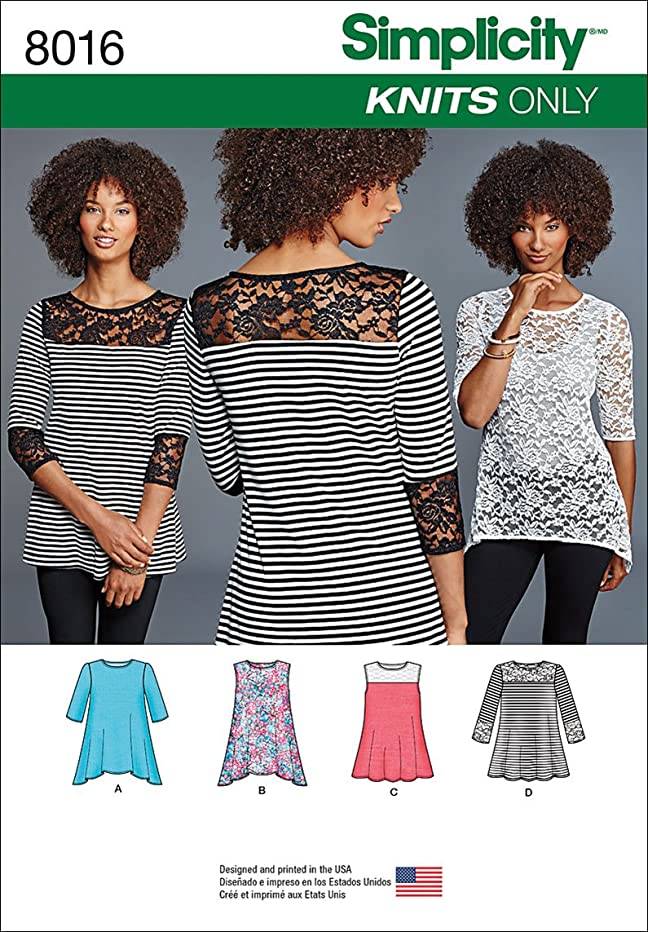 Simplicity Patterns Misses' Knit Tops with Lace Variations Size: A (XXS-XS-S-M-L-XL-XXL), 8016