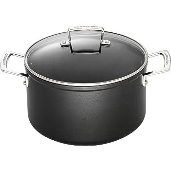 LE CREUSET Toughened Non-Stick Deep Casserole Pot with Glass Lid, Diameter 24 cm, Black, 962033240