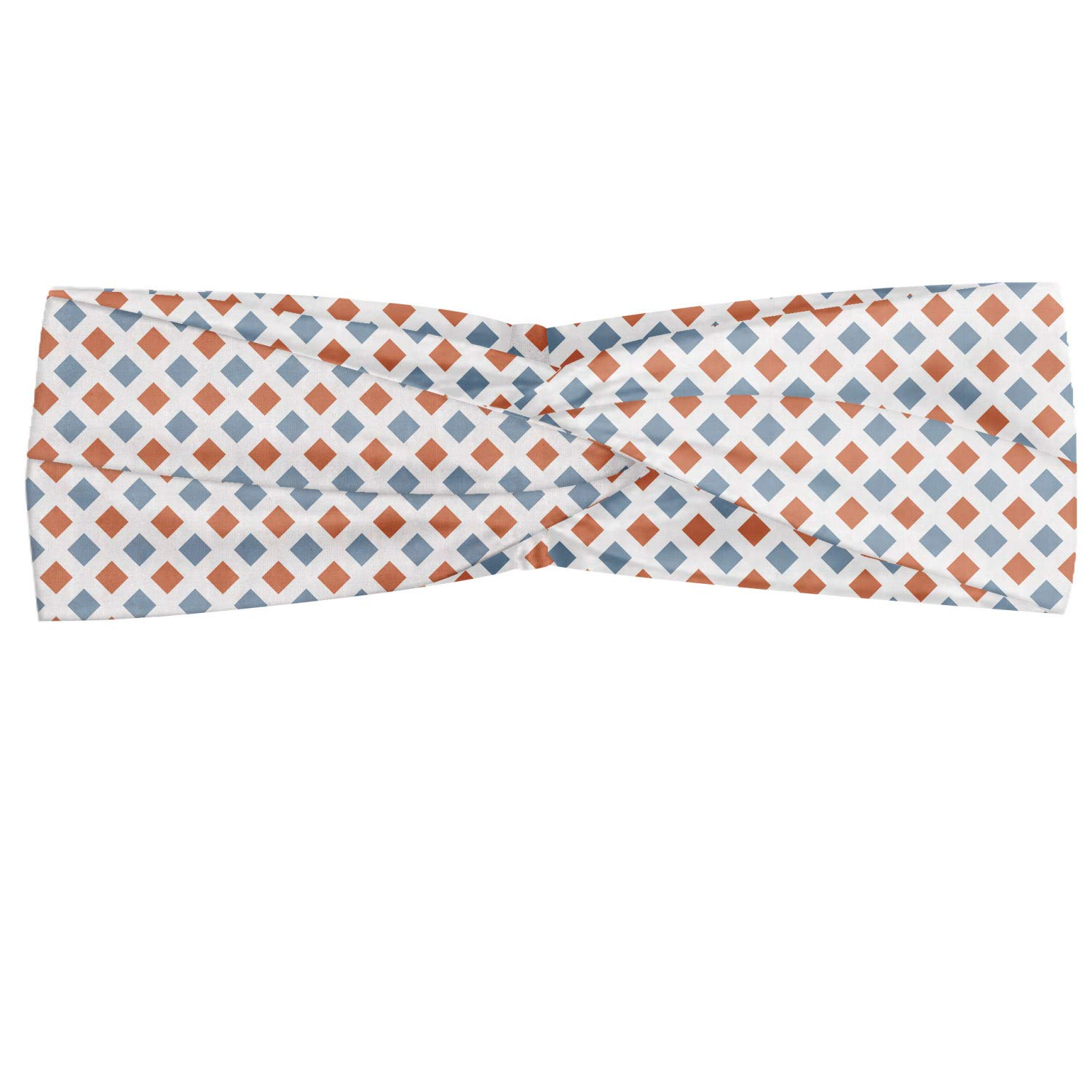 Ambesonne Modern Headband, Geometrical Image with Colorful Rhombus and Bold Borders Image Print, Elastic and Soft Women's Bandana for Sports and Everyday Use, White Seafoam and Coral