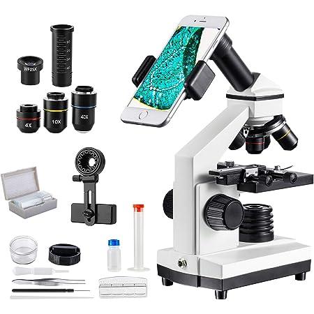 MAXLAPTER 顕微鏡 100~2000倍 移動式ステージ スライドグラス 小学生 生物標本 実体 花粉 宝石 子供用 自由研究用 学校 学習用 スマホ 撮影 高倍率 観察用具付属 日本語説明書付き 生物学教育 夏休み