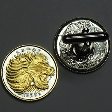 Ethiopia Lion - 2 Toned(Uniquely Hand Done) Gold on Silver coin cufflinks for men - men's jewelry men's accessories for him groomsmen