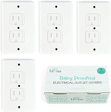 Self-Closing Electrical Outlet Covers for Baby Proofing   Automatic Sliding Electrical Safety Covers   Socket Plugs Alternate (4 Pack, White)