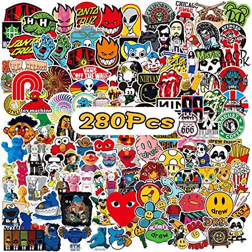 WOTEK Aufkleber 280 Stück Cool Sticker Pack, Wasserdicht Laptop Aufkleber Graffiti Stickers Decals Aufkleber für Auto Laptop Motorrad Skateboard Fahrrad Gepäck Koffer Anime Sticker Bomb…