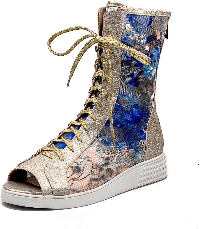 AmoonyFashion Women's Low-Heels Soft Material Assorted color Zipper Peep Toe Sandals
