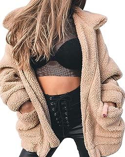 LUKEEXIN Women's Casual Long Sleeve Double Pocket Zip Up Faux Fur Coat
