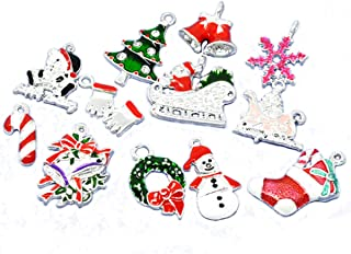 Best Housweety 50 Mixed Silver Plated Enamel Christmas Charms Pendants Review