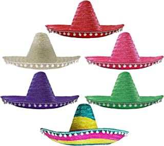 I LOVE FANCY DRESS LTD Mexican Sombrero Hats in Mixed Colours - 6 Pack of Mexican Fiesta Hats for Festivals and Parties (A...