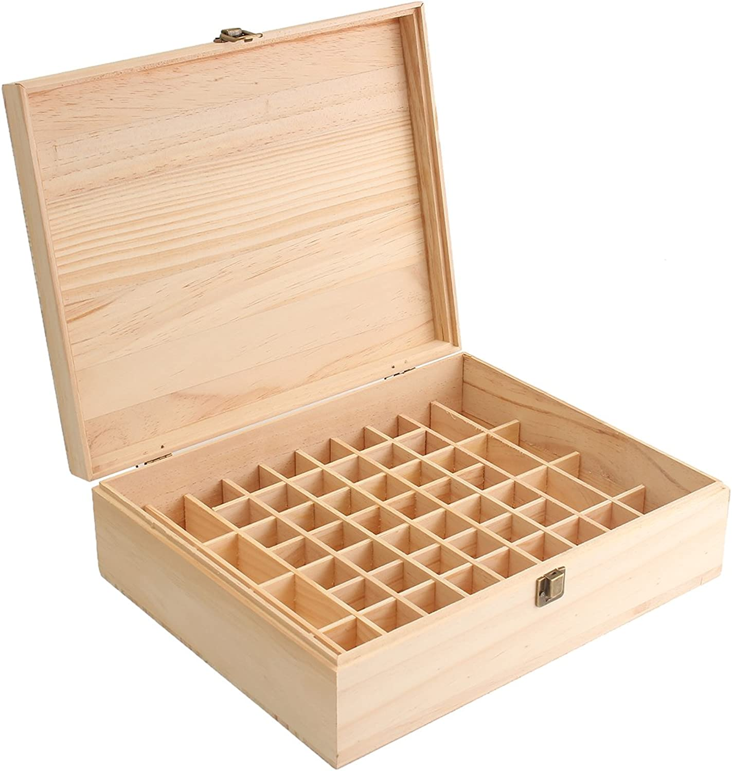Fincos 68 Slot Essential Oil Wooden Box Organizer Large Wood Storage Case Holds