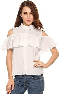 Women Cold Shoulder Ruffles Chiffon Button Down Blouse Tops Shirt