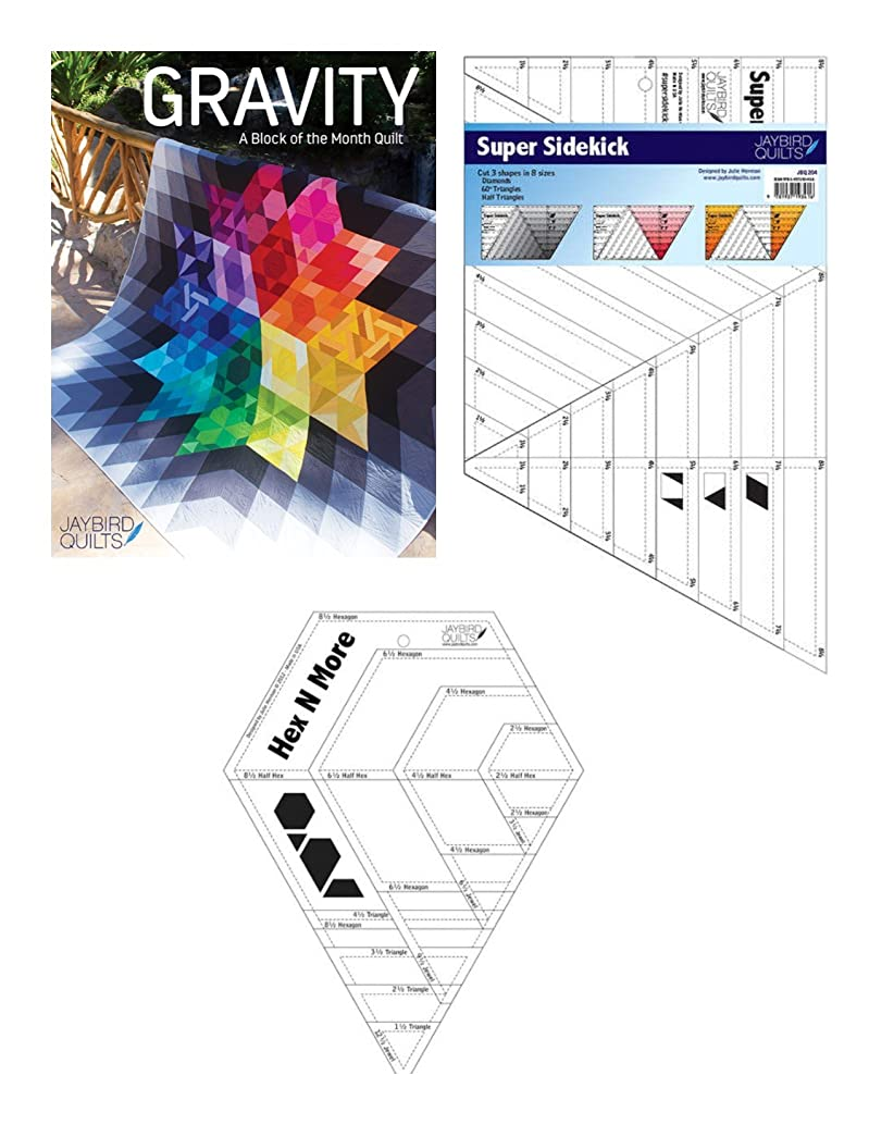 Gravity Block Of Month Quilt Patterns Softcover with Needed Rulers Super Sidekick and Hex N More Set