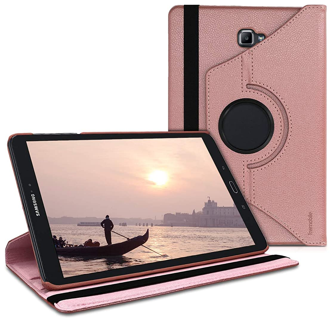 kwmobile 360° Case for Samsung Galaxy Tab A 10.1 (S-Pen) - PU Leather Protective Tablet Cover with Stand Function - Rose Gold