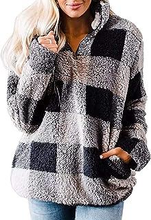 Women's Plaid Sherpa Fleece Zip Sweatshirt Long Sleeve Pockets Pullover Jacket