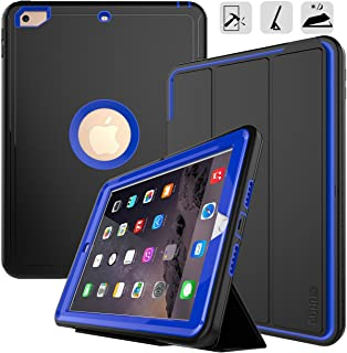 DUNNO New iPad 9.7 2017/2018 case Heavy Duty Full Body Rugged Protective Case with Auto Sleep/Wake Up Stand Folio & Three Layer Design for Apple iPad 9.7 inch 2017/2018 (Black+Blue)