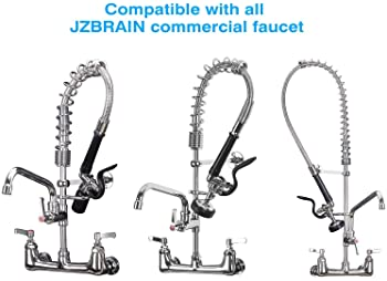 JZBRAIN Pre Rinse Sprayer Head for Commercial Faucet Spray Valve Wall Mount Kitchen Faucet with Pull Down Sprayer 8 I...