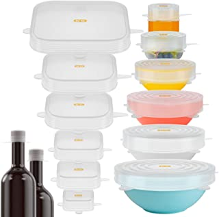 16 Pack Silicone Lids: A Set of Magic Stretch Lids Food and Bowls Covers for Food Storage, Fresh Keeping, Naturally BPA Fr...