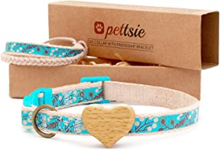 Pettsie Cat Collar Breakaway Safety with Heart and Friendship Bracelet for You, Soft and Natural 100% Cotton for Extra Comfort, Strong and Durable, Easy Adjustable Size 8-11 Inch
