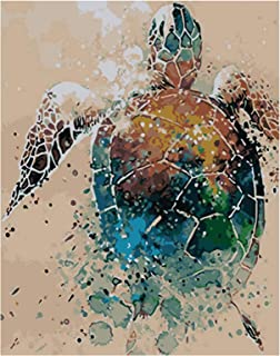 RICUVED DIY Canvas Oil Painting Kit Paint by Number Painting Kits for Adult Animal Home Decoration Sea Turtle 16x20inch