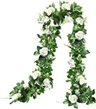 THE BLOOM TIMES 2 Pcs 15.6FT Artificial Rose Vine Silk Flower Garland Decoration Fake Hanging Plants Floral Garland for Ho...
