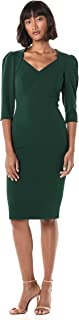 Calvin Klein Womens CD9C1G23 Three Quarter Sleeve Sheath with Open V Neckline Dress 3/4 Sleeve Dress
