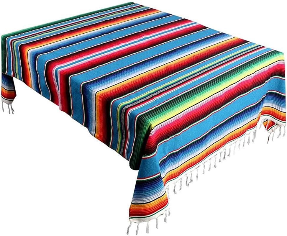 Mexican Blanket Mexican Serape Blanket Stripe Tablecloths For Weddings Party Decorations Cotton Travel Serape Blanket Outdoor Table Cover Table Cloth 59x84