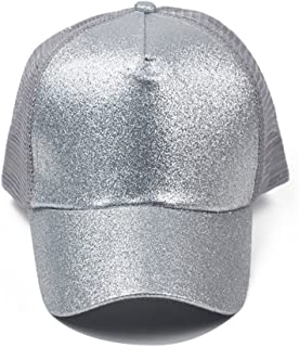 Hats Sequined Fluorescent Baseball Cap with A Ponytail Design with A Shiny Mesh Net Cap Fashion (Color : Silver)