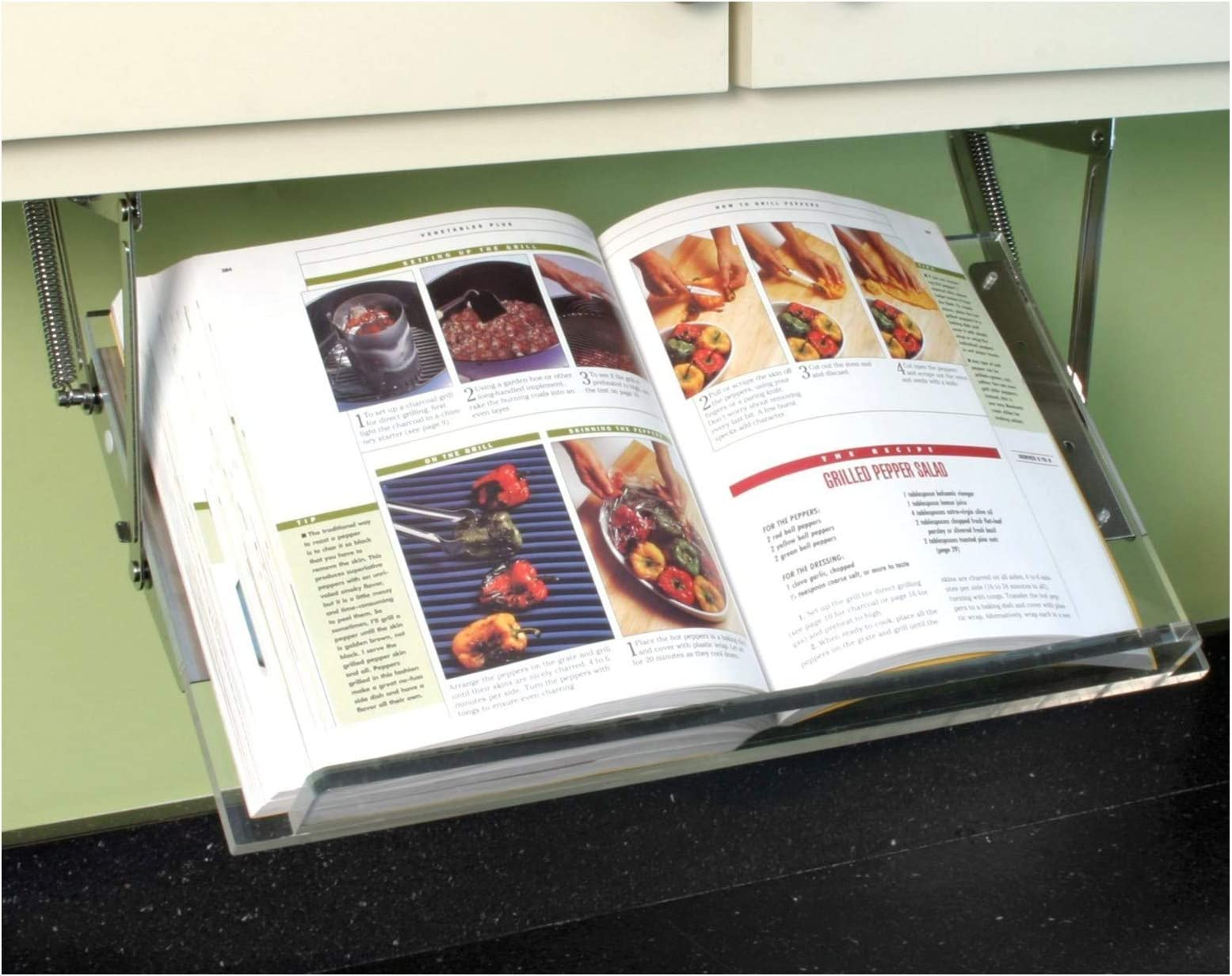 Clear Solutions Under Cabinet Mounted Cookbook Holder - Acrylic - Made in The USA