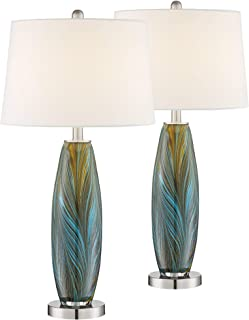 Azure Modern Table Lamps Set of 2 Handcrafted Blue Brown Art Glass White Fabric Drum Shade for Living Room Bedroom Bedside Nightstand Office Family - 360 Lighting