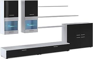 SelectionHome - Mueble Comedor Moderno salón con Luces Leds Acabado en Negro Brillo Lacado y Blanco Mate Medidas: 300 x...
