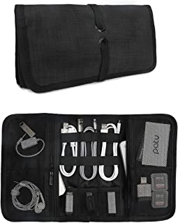 Patu Roll Up Electronics Accessories Travel Gear Organizer Case, Black - Portable Universal External Batteries Hard Drives...