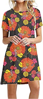 liulangzhe No1 Nicht positionierende Damen-Kurzarm-T-Shirt-Kleid mit Blumen- / Rosen- / Gänseblümchen-Print Elastisches, lockeres und bequemes Swinging-Kleid