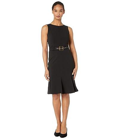 Calvin Klein Sleeveless Belted Dress with Ruffle Hem (Black) Women