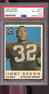 1959 Topps #10 Jimmy Brown Jim Brown Cleveland PSA 6.5 Graded Football Card NFL