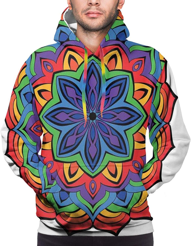 Men's Hoodies Sweatshirts,Composition of Thriving Exotic Spring Flower in Oriental Mandala Design