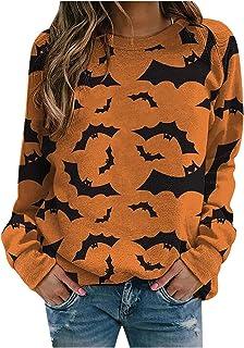 ReooLy Womens Long Sleeve Sweatshirt Autumn Casual Blouse Crewneck Jumper Dandelion Black Cat Pumpkin Print Halloween T-Sh...