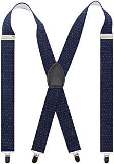 Bioterti Men's Wide X-back 4 Clips Suspenders -Great for Casual & Formal