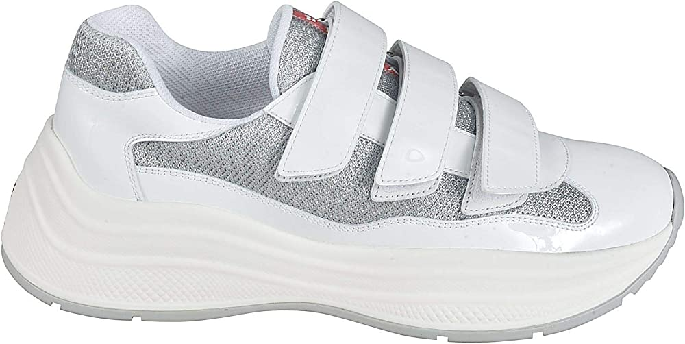 Prada luxury fashion sneakers in tessuto bianco e pelle 4O3512ASZF0J36