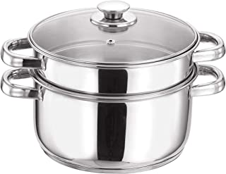 Vinod VCS026 2-Tier Steamer with Glass Lid 20cm, Silver, W 24.2 x H 23.2 x D 17.0 cm, Stainless Steel