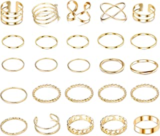 25 Pcs Simple Knuckle Midi Ring Set for Women Vintage Gold Finger Stackable Rings Set Carved Joint Nail Rings