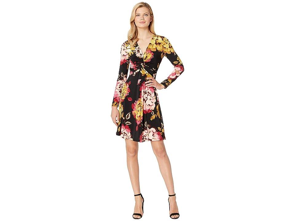 London Times Long Sleeve Twist Front w/ Flare Dress (Black/Cherry) Women