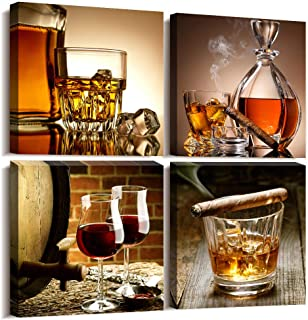 """kitchen Wall Decor Canvas Art Still life wine glass Wall Art Decor Ready to Hang for Home Decoration bedroom dining room pub wall mural Artwork 16"""" x 16"""" 4 Pieces Framed Canvas posters Prints Painting"""